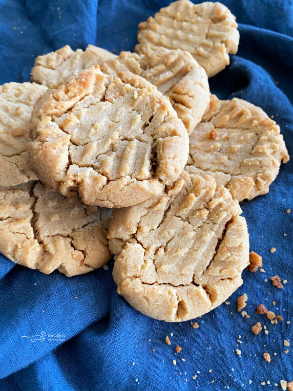 one stack of peanut butter cookies