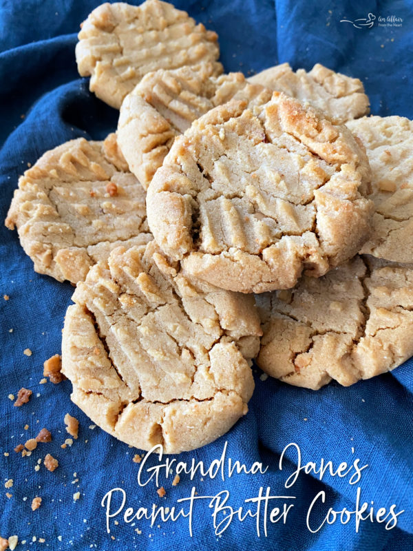 top view of a stack of classic peanut butter cookies with text