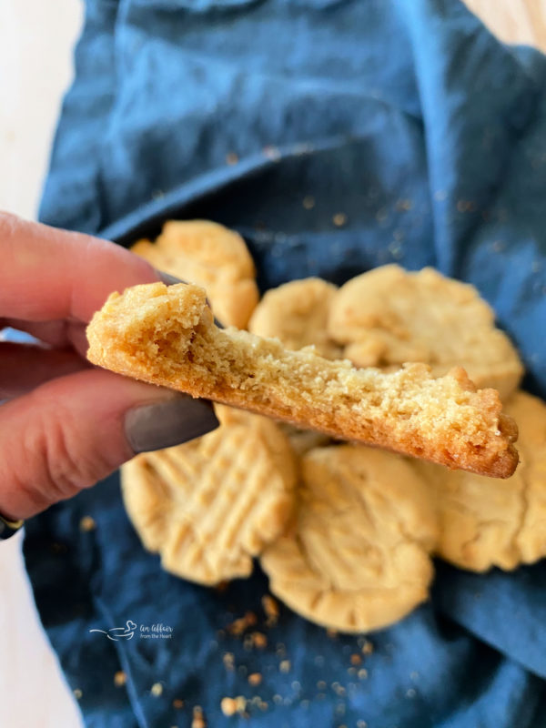 close view of half of a peanut butter cookie