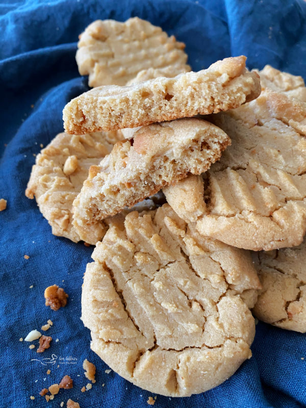 front view of stack of grandma's peanut butter cookies