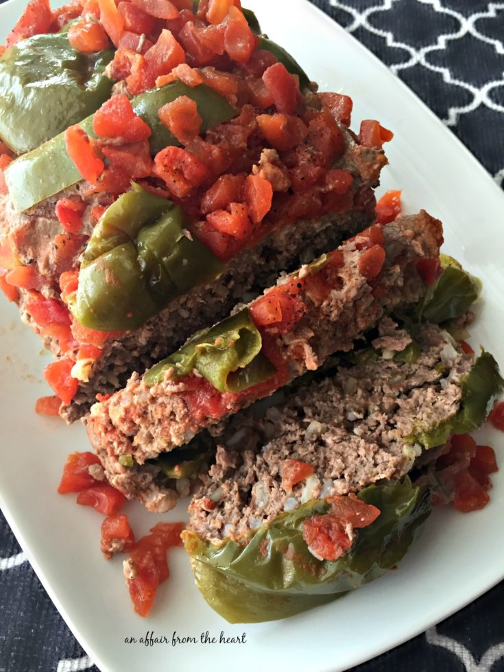 Overhead image of Stuffed Pepper Meatloaf on a white platter
