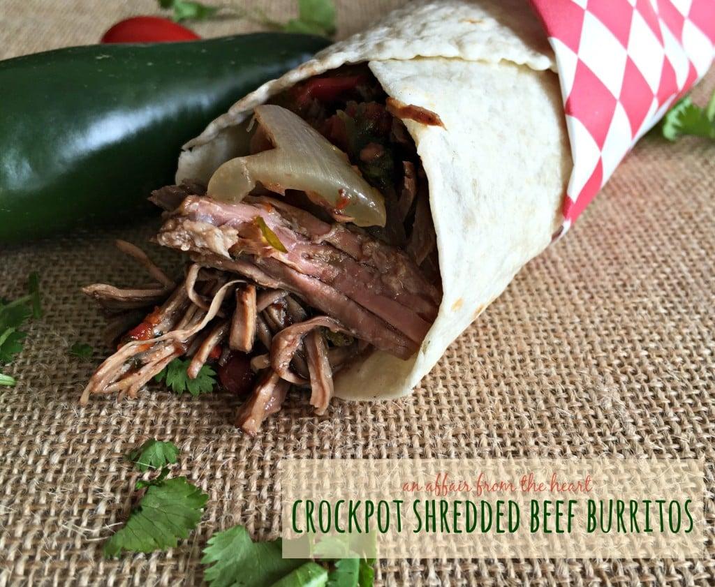 Crockpot shredded beef burritos