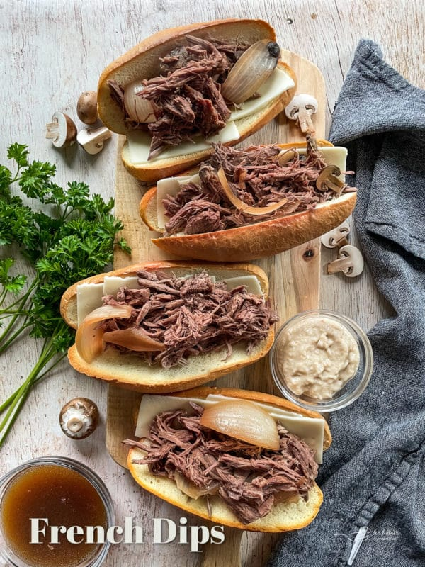 French dips on cutting board