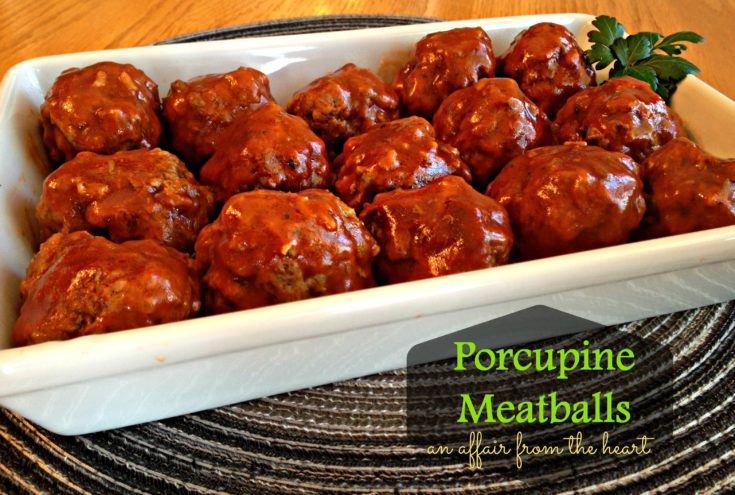 porcupine meatballs in a white serving dish