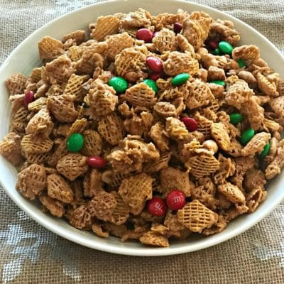 Candy Coated Crispix Snack Mix —- Plus a Fun way to decorate a Pringle Can for your Cookie Exchanges