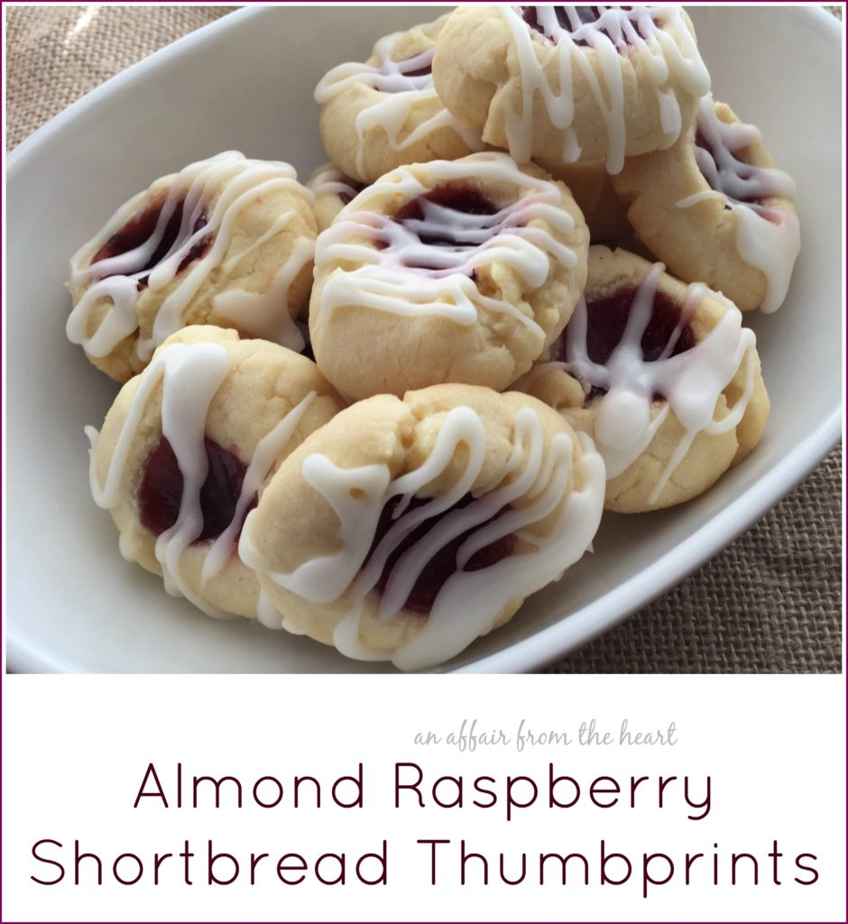 almond raspberry shortbread thumbprints