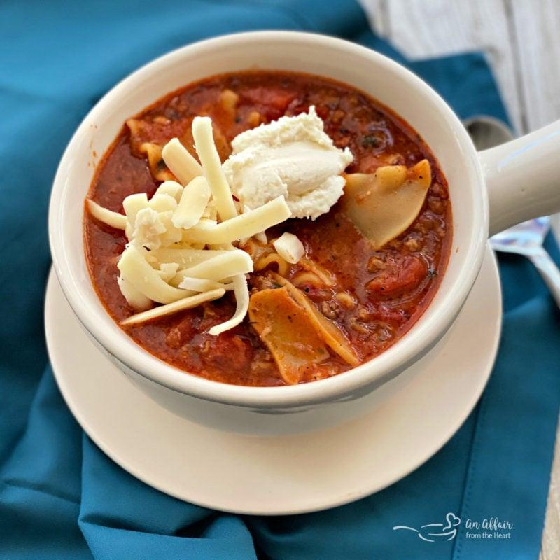 Easiest Lasagna Soup Recipe blue background