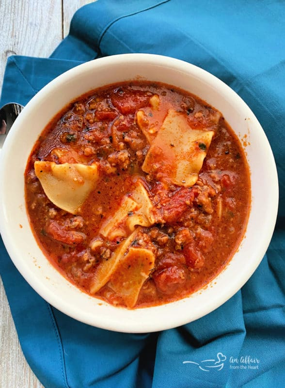 Easiest Lasagna Soup Recipe without toppings