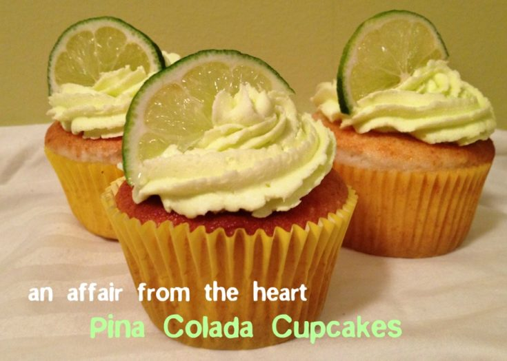 Side view of Pina Colada Cupcakes on a white plate