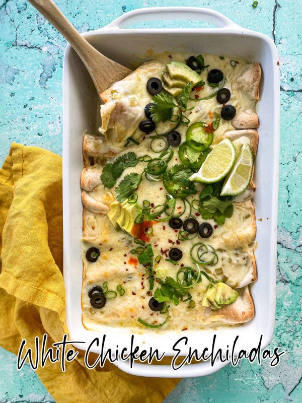 Enchiladas in white dish