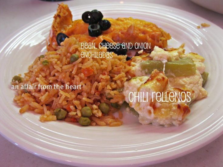 Bean, Cheese and Onion Enchiladas