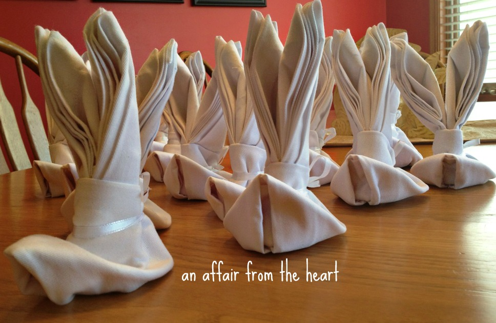 Folding Table Napkins : Bunny Napkin Folding  An Affair from the Heart