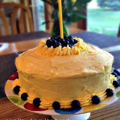 Lemonade Cake with Blueberry Filling