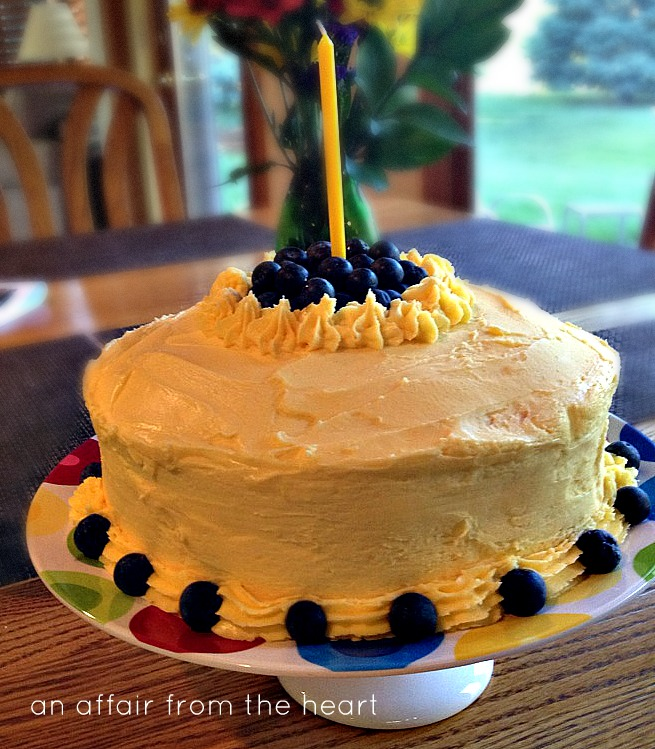 Lemonade Cake with Blueberry filling and lemonade butter cream frosting