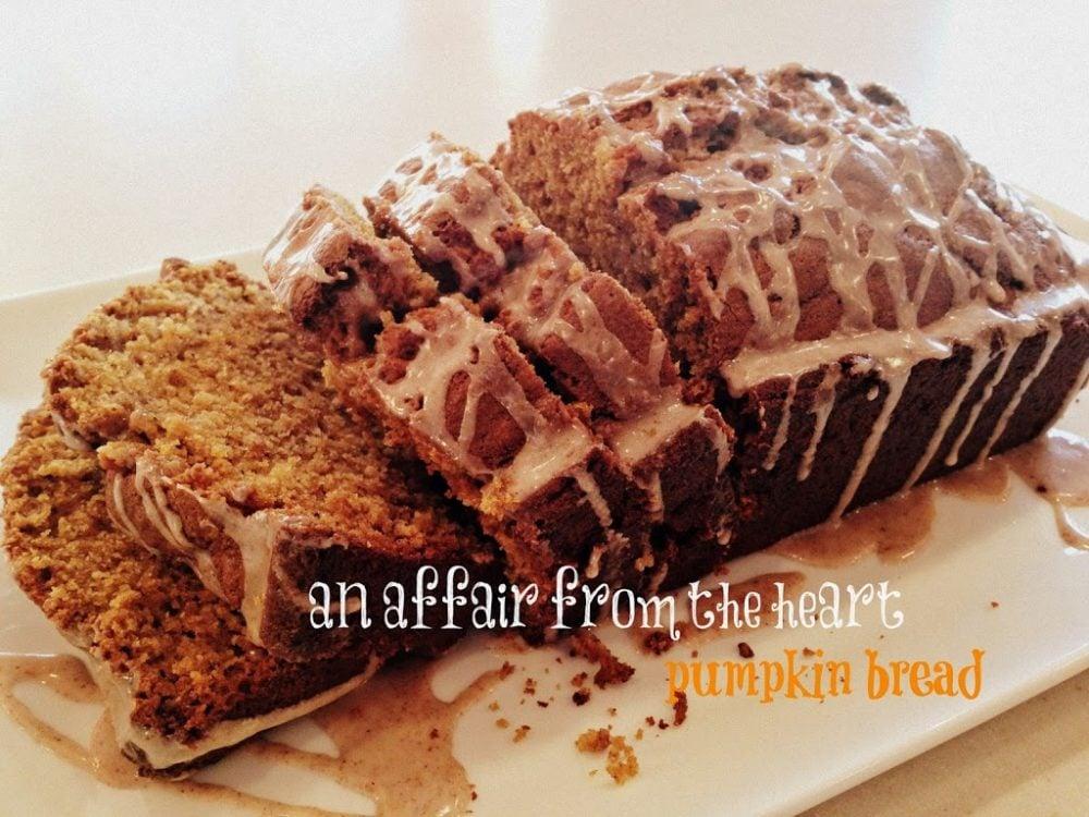 Pumpkin Bread with Spice Glaze on a white platter