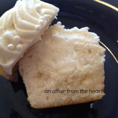 White Chocolate Truffle Center Cupcakes with White Chocolate Cream Cheese Frosting