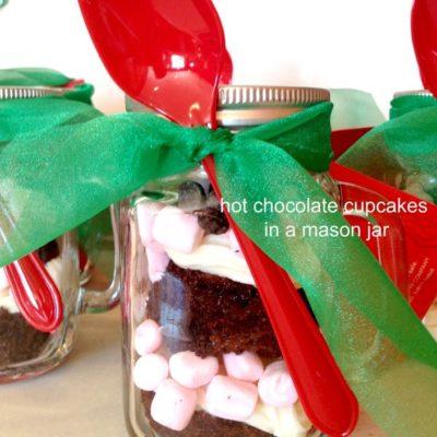 Hot Chocolate Cupcakes in a Mason Jar Mug