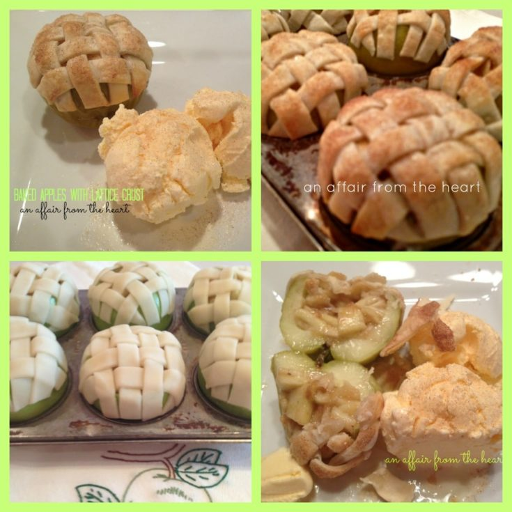 Collage of lattice topped baked apples