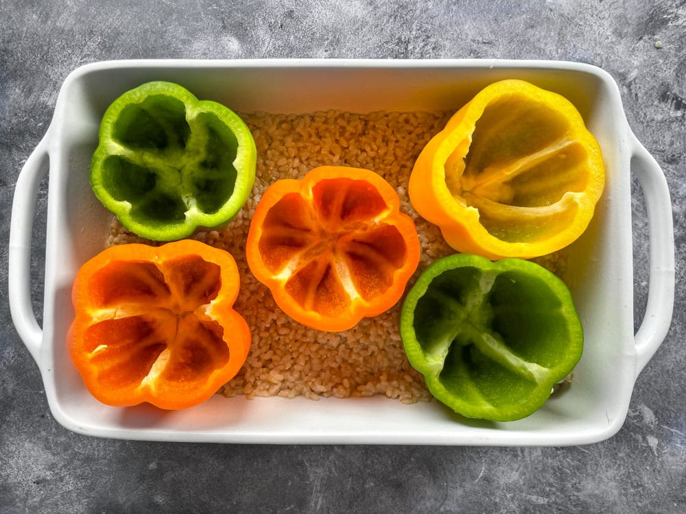 Stuffed peppers over rice
