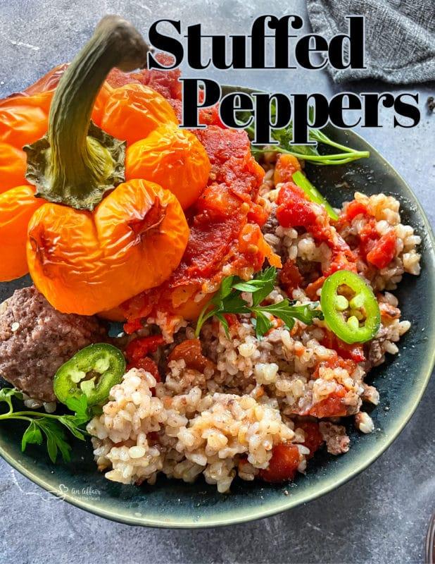 Stuffed pepper in bowl