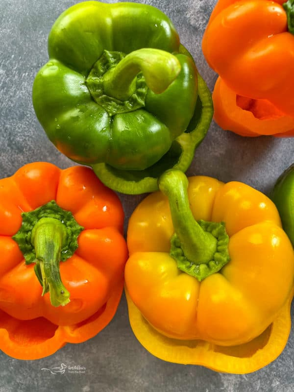 Three bell peppers