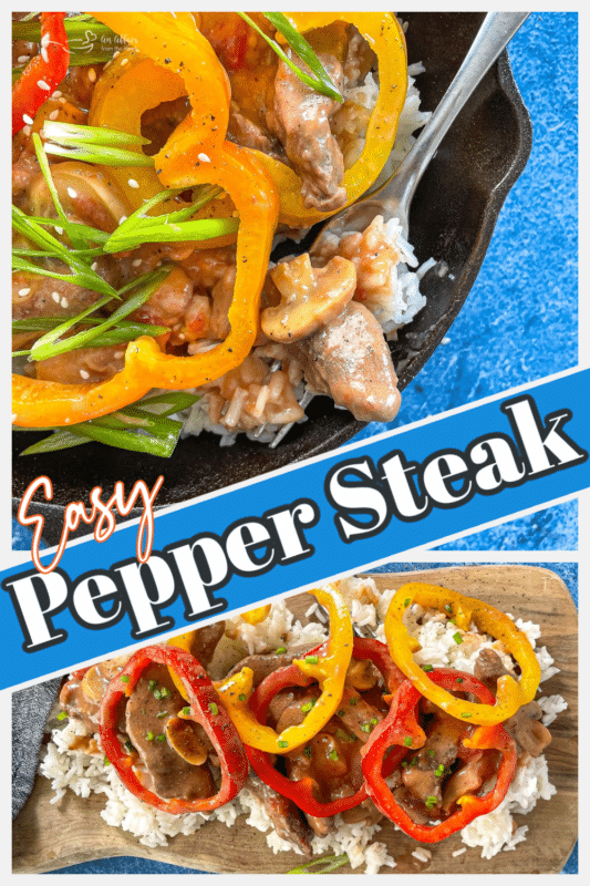 Two images of pepper steak in a cast iron skillet