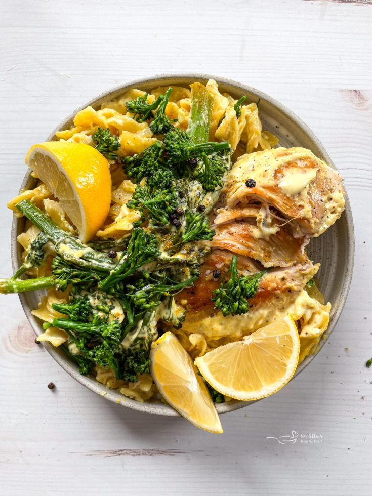 Chicken Divan white bowl with lemons