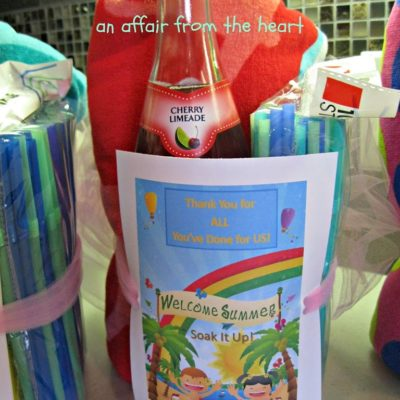 "Teacher Gift – ""Welcome Summer — Soak it Up!"""