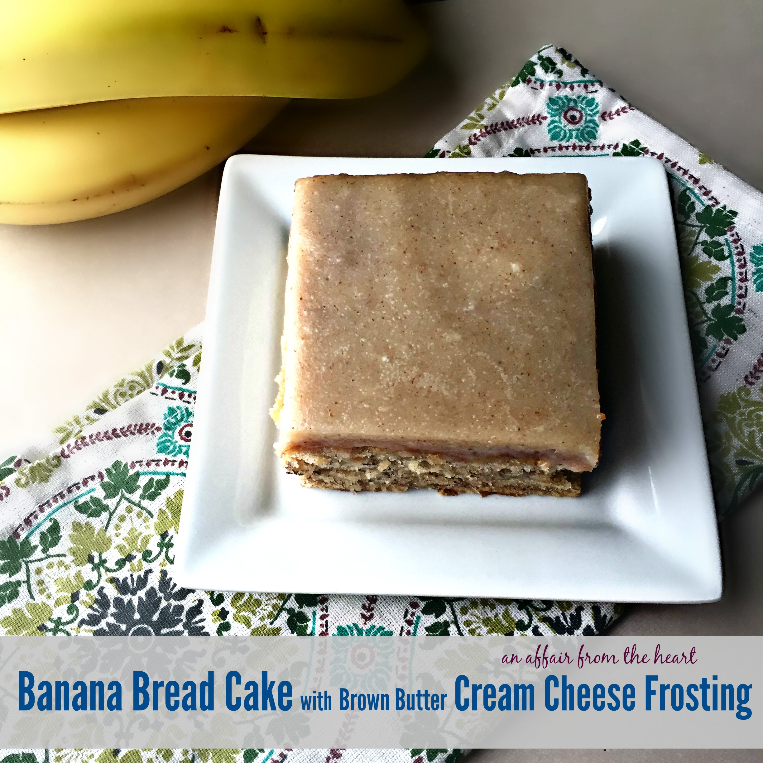 Banana Bread Cake with Brown Butter Cream Cheese Frosting