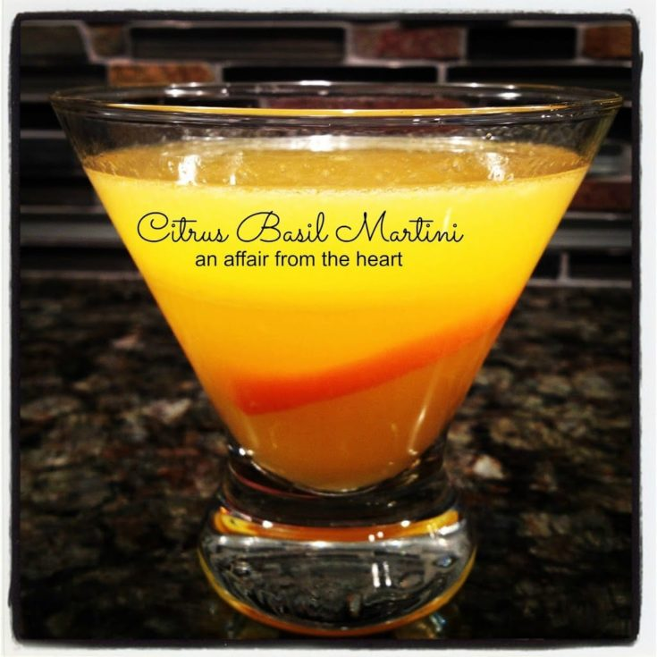 Side view of Citrus Basil Martini with text of the same
