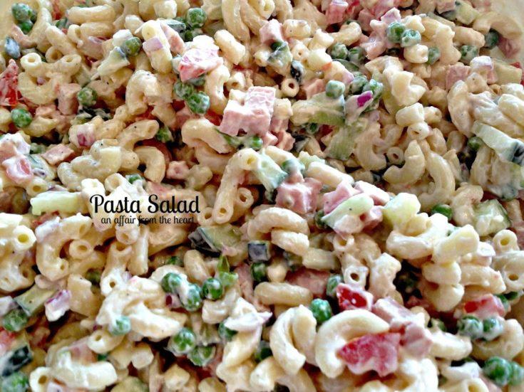 Close up of pasta salad