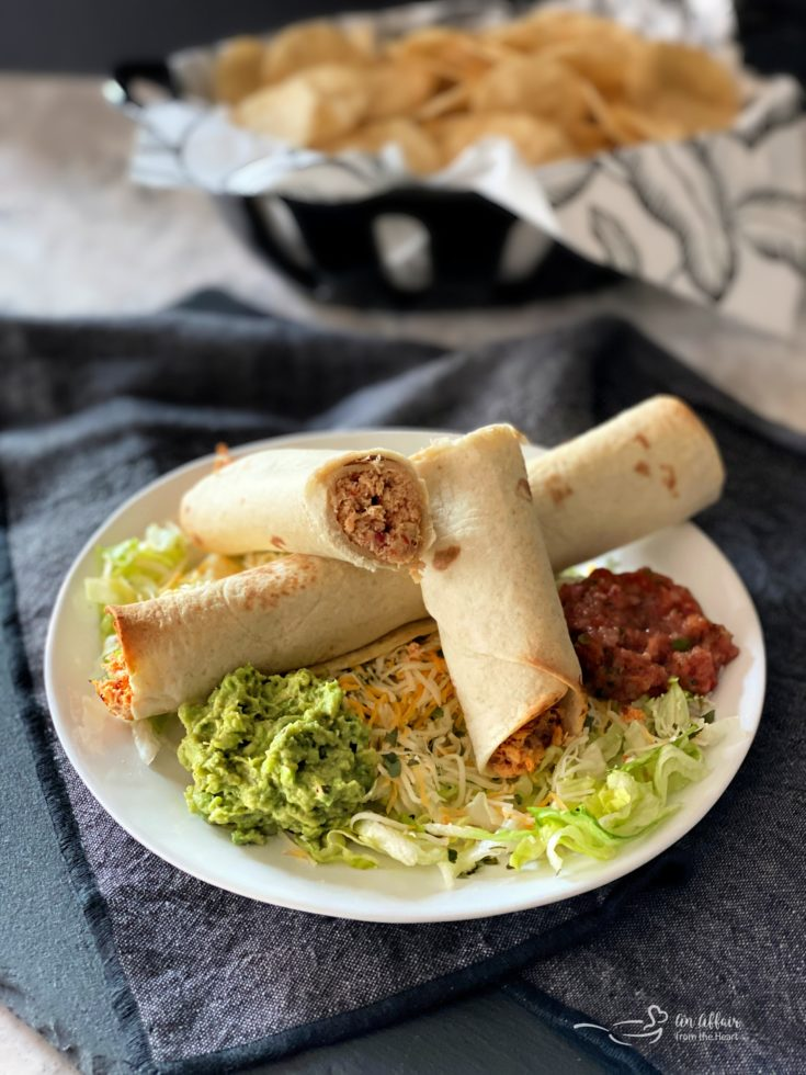 Baked Chicken Taquitos plated