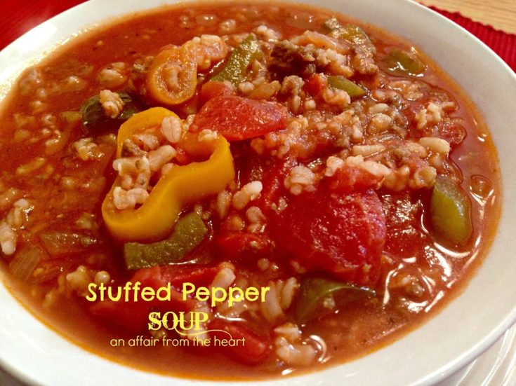 close up of stuffed pepper soup in a white bowl