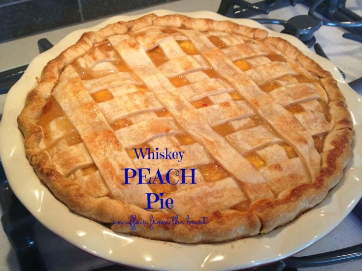 Close up of Whiskey peach pie with text of the same