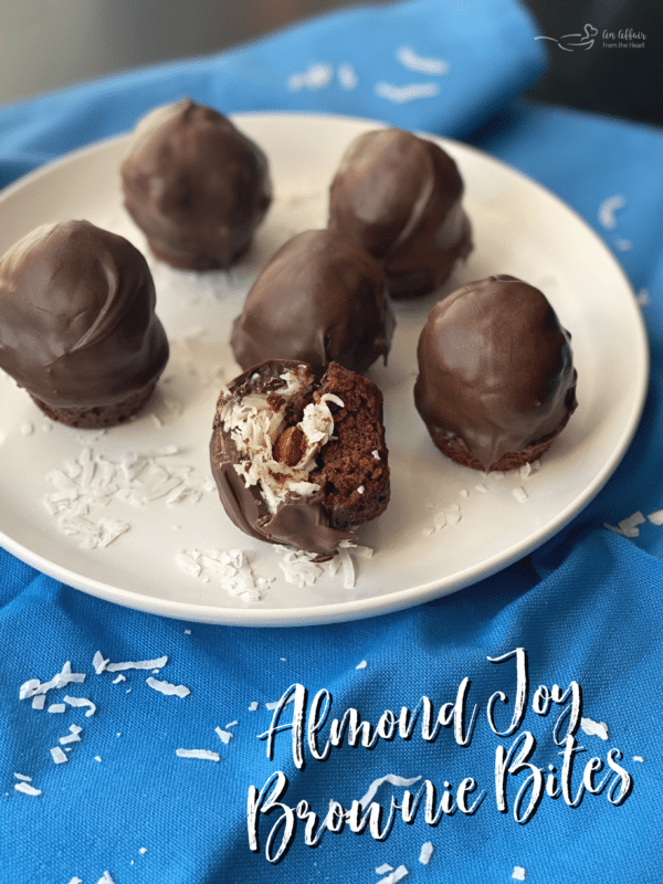 Almond Joy Brownie Bites white plate