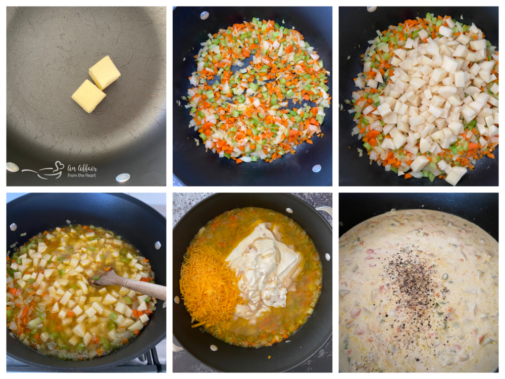 Step by step instructions for cheesy potato soup