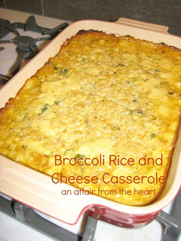 """Casserole in a red dish with text """"broccoli rice and cheese casserole"""""""
