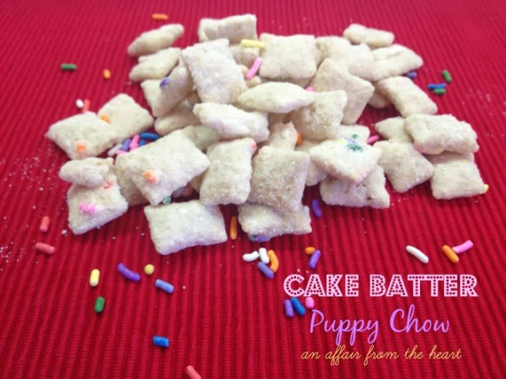 Cake Batter Puppy Chow (Muddy Buddies)