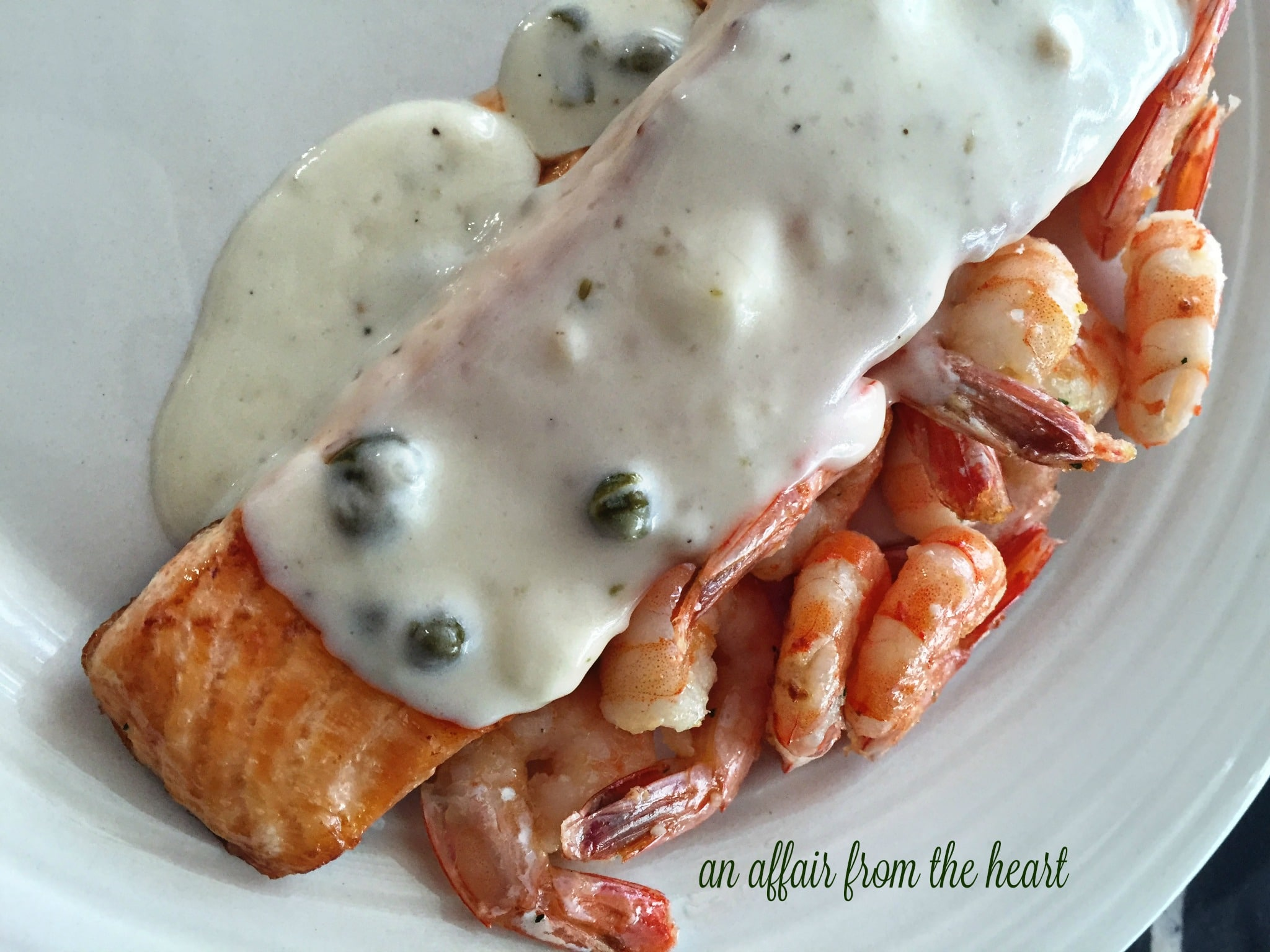 Salmon & Shrimp with Lemon Caper Sauce