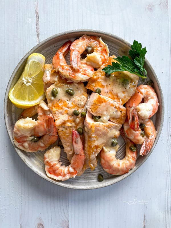 salmon with shrimp and caper sauce