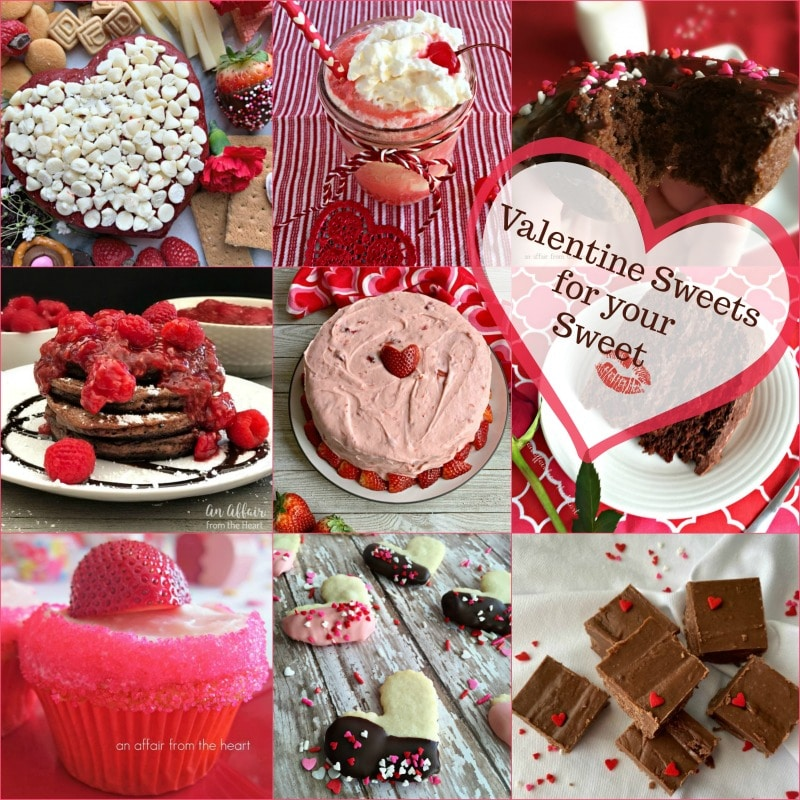 "Valentine collage image with text ""Valentine Sweets for your Sweet"""
