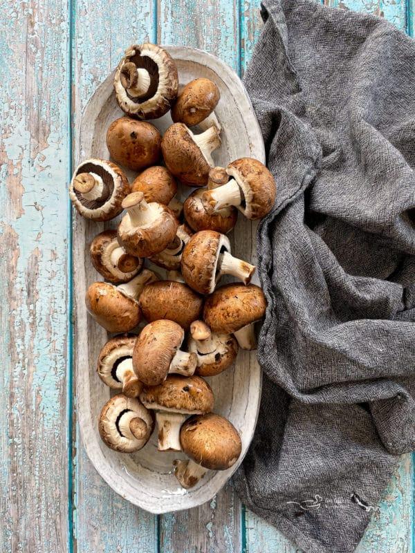 overhead of Mushrooms on a plate
