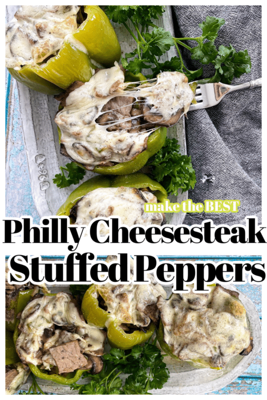 """Pinterest image with text """"philly cheesesteak stuffed pepper"""""""