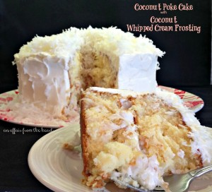 coconut cream poke cake with coconut whipped cream frosting
