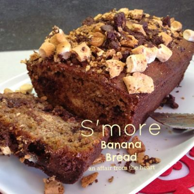 S'More Banana Bread – made with Kahlua Caramelized Bananas