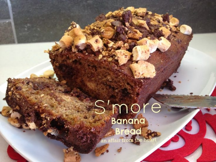 S'More Banana Bread - made with Kahlua Caramelized Bananas