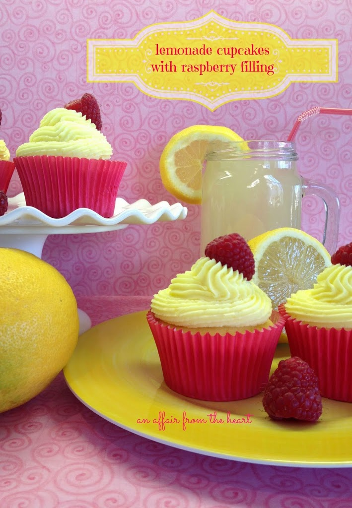 Lemonade Cupcakes with Raspberry Filling