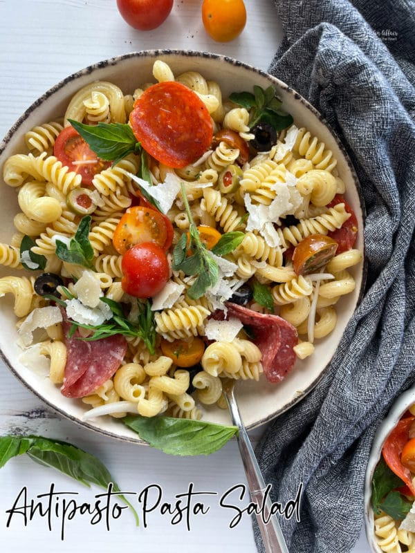 One bowl filled with pasta salad