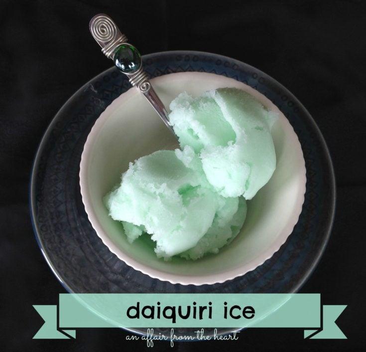 overhead of baskin robbins daiquiri ice copy cat in a white bowl