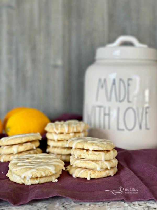 Chewy Glazed Lemon Cookies with cookie jar